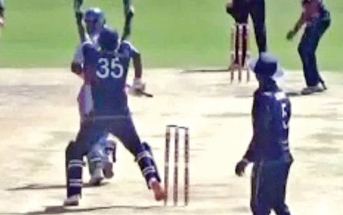 """f3cbc70ecf4c6 ... his foot and sought the hit-wicket decision which was given by  """"confused"""" umpires Anantha Rajamani at the bowler s end and Azad Kumar at  square leg."""